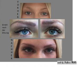 Vorher- und Nachher-Bild bei einer Microblading-Behandlung