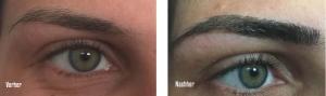 Augenbrauen - vor und nach der Behandlung
