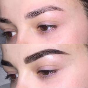 Augenbrauenbehandlung mit BROW Henna - vorher, nachher